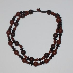 5/50%  tribal inspired double layer wood necklace